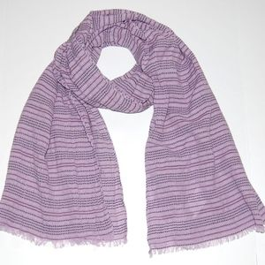 New Eileen Fisher Mallow Row-Striped Fringe Scarf